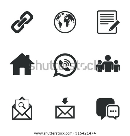 Communication icons. Contact, mail signs. E-mail, call phone and group symbols. Flat icons on white. Vector