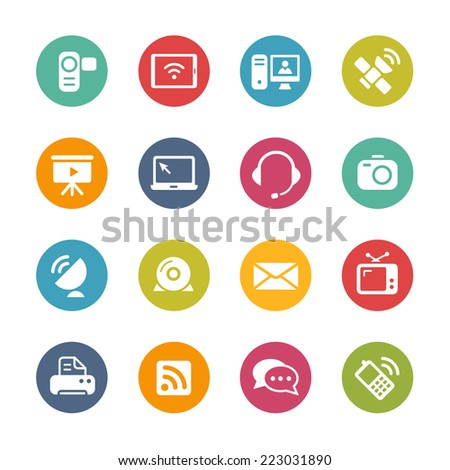 Communication Icons // Fresh Colors Series ++ Icons and buttons in different layers, easy to change colors ++ - stock vector