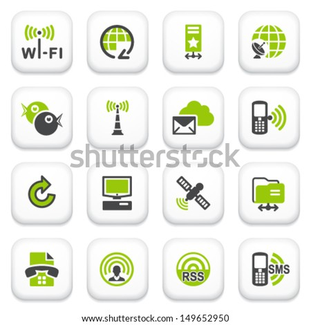 Communication icons. Green gray series. - stock vector