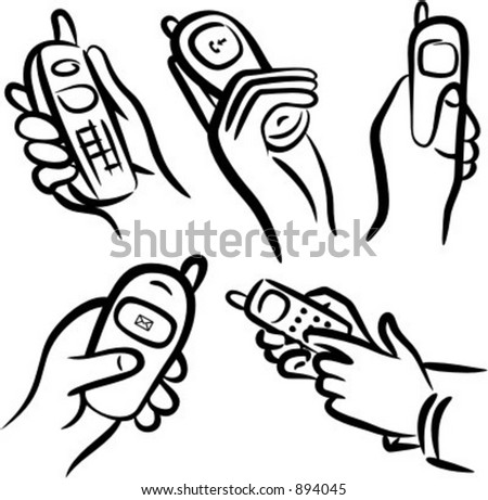 Communication icons: Hands with cell phones.