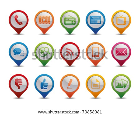 Communication icons in the form of GPS icons. - stock vector
