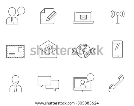 Communication icons in thin outlines.  - stock vector