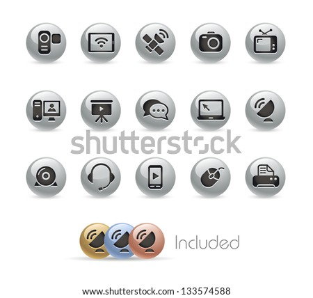 Communication Icons // Metal Round Series --- It includes 4 color versions for each icon in different layers--- - stock vector