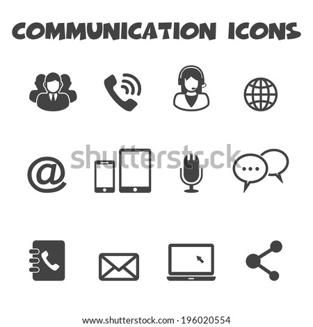 communication icons, mono vector symbols - stock vector