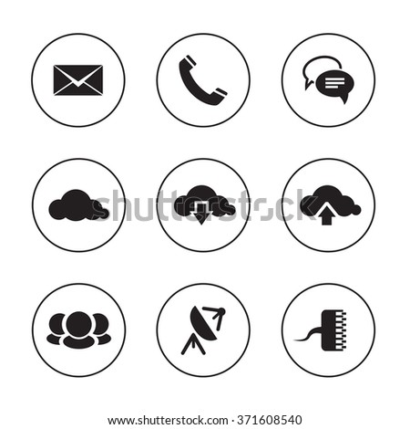 Communication icons on black and white backdrops. Vector illustration - stock vector