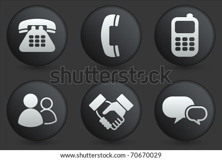 Communication Icons on Black Internet Button Collection Original Illustration - stock vector