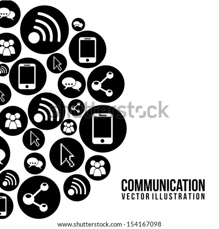 communication icons over white background vector illustration  - stock vector