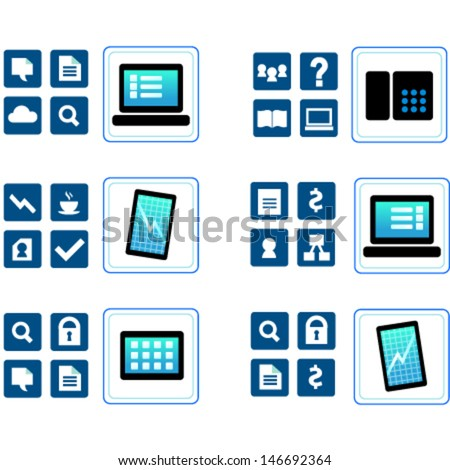 Communication icons: phone, tablet, mobile, voip phone, laptop, diagram, cloud, wifi, message, lock, security, search, devices, technologies, business icons about modern communication. - stock vector