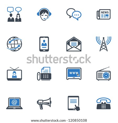 Communication Icons Set 2 - Blue Series - stock vector