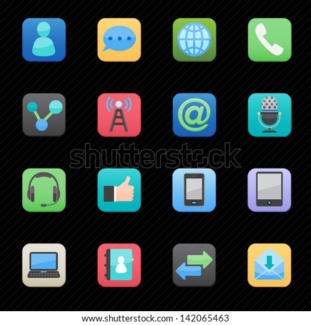 Communication Icons set color with black background