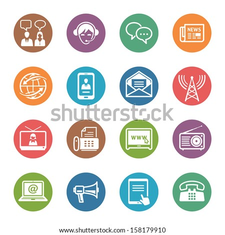 Communication Icons Set 2 - Dot Series - stock vector