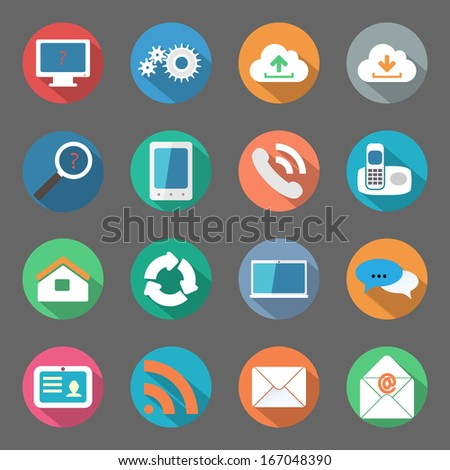Communication icons set flat design - stock vector