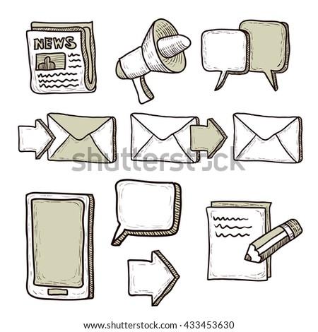 Communication icons set. Hand drawn cartoon vector illustration. - stock vector