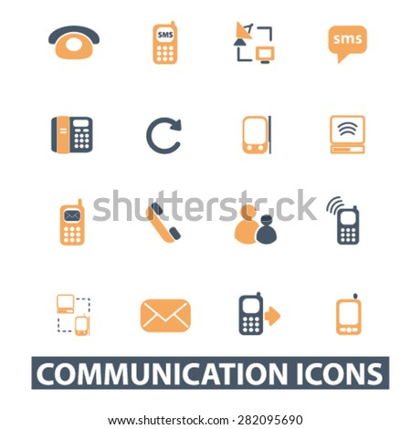 communication icons, signs, illustrations set, vector