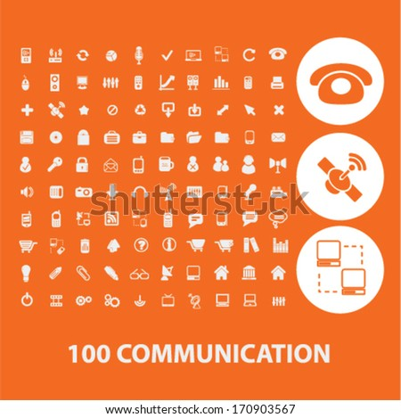 communication icons, signs set, vector