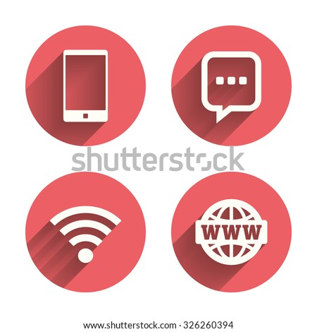Communication icons. Smartphone and chat speech bubble symbols. Wifi and internet globe signs. Pink circles flat buttons with shadow. Vector - stock vector