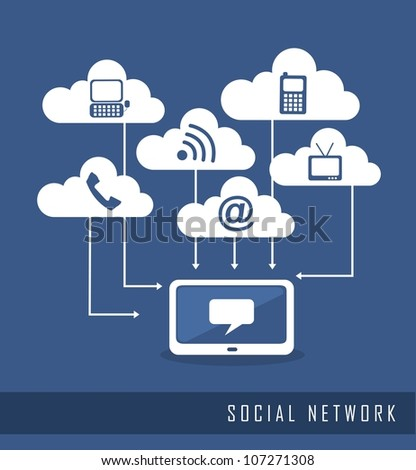 communication icons, social network. vector illustration - stock vector