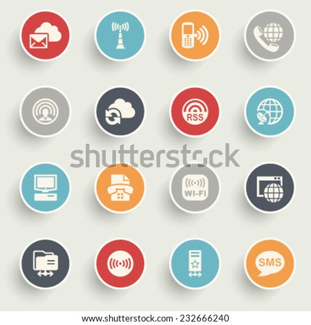 Communication icons with color buttons on gray background. - stock vector