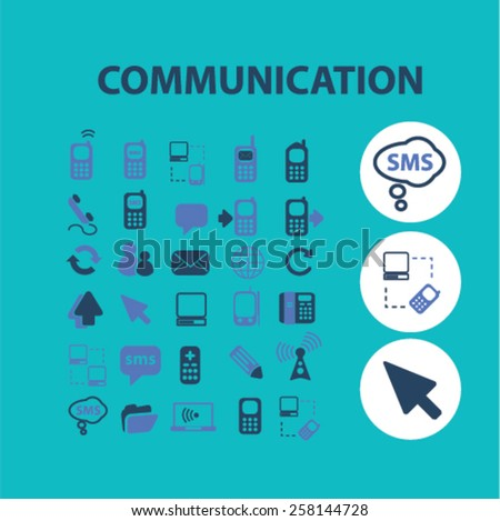 communication isolated icons, signs, illustrations design concept set for web, internet, application, vector - stock vector