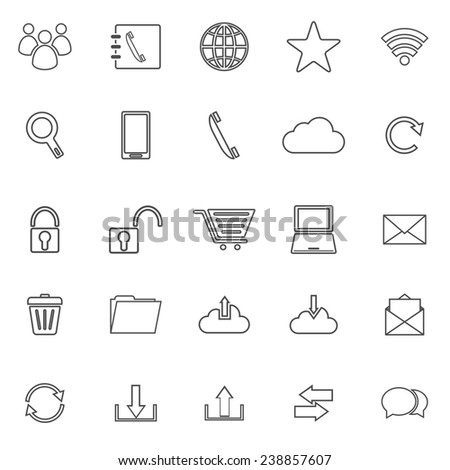 Communication line icons on white background, stock vector