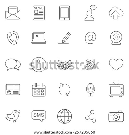 Communication line icons set.Vector - stock vector