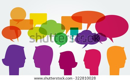 Communication. Man and woman head silhouettes with colorful speech bubbles - stock vector