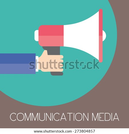 Communication media and digital marketing. Business man holding megaphone. Flat design. Business illustration concept.
