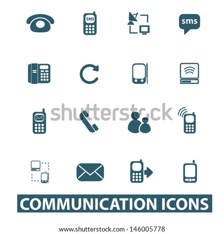 communication, mobile phone icons, signs set, vector - stock vector