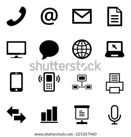 Communication Office Icons Iconset - stock vector