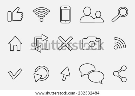 communication outline  icon set - stock vector