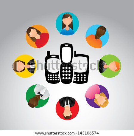 communication people over gray background vector illustration - stock vector