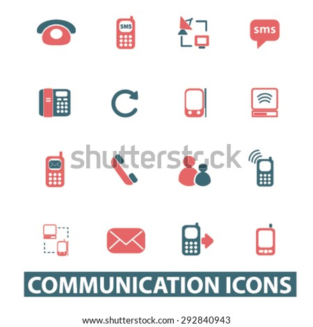 communication, phone isolated vector icons