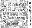 COMMUNICATION. Seamless vector pattern with word cloud. Illustration with different association terms. - stock photo