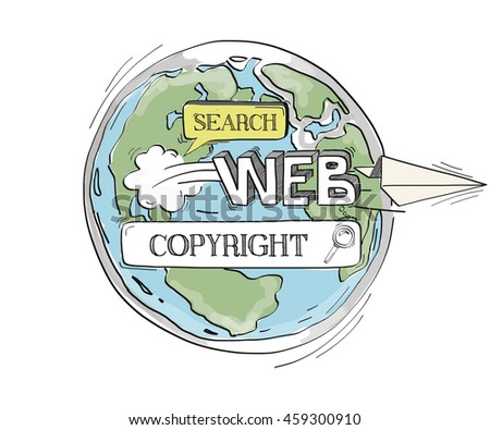 COMMUNICATION SKETCH Copyright TECHNOLOGY SEARCHING CONCEPT - stock vector