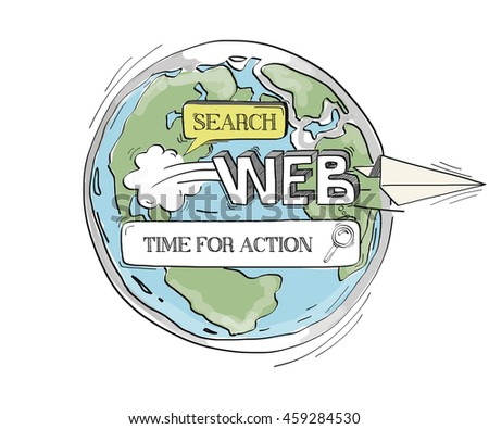 COMMUNICATION SKETCH Time For Action TECHNOLOGY SEARCHING CONCEPT - stock vector