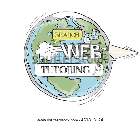 COMMUNICATION SKETCH TUTORING TECHNOLOGY SEARCHING CONCEPT - stock vector