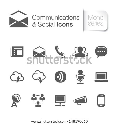 Communication & social related icons - stock vector