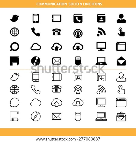 Communication solid and line icons set .Illustration eps10