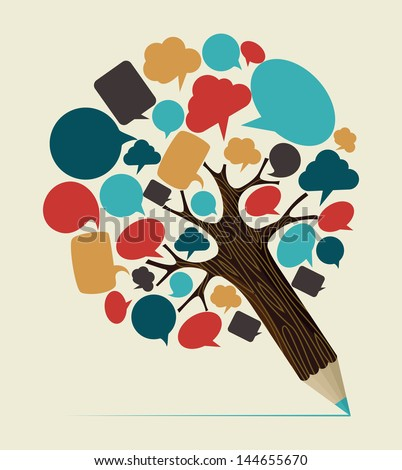 Communication speech bubble concept pencil tree. Vector illustration layered for easy manipulation and custom coloring. - stock vector
