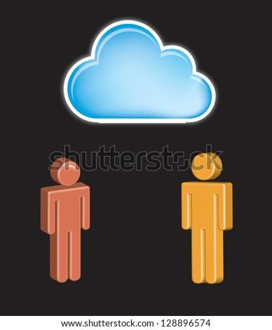 Communication symbol over black background vector illustration - stock vector
