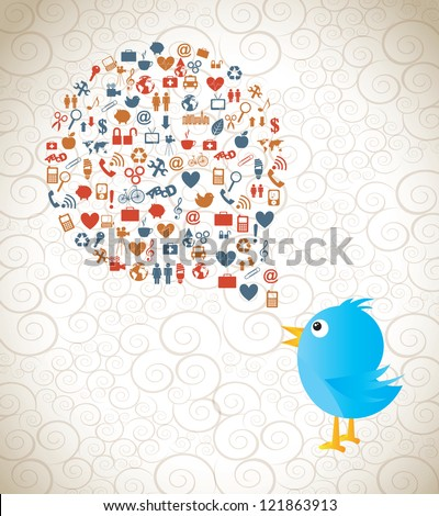 communication symbols in a great cloud of information with a bird