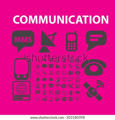 communication, technology, community icons, signs, symbols set, vector - stock vector