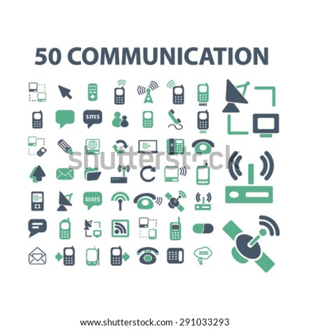 communication, technology, connection isolated icons, signs, illustrations on white background for website, internet, mobile application, vector