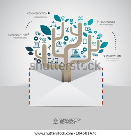 Communication Technology Infographic Concept Design Template Stock ...
