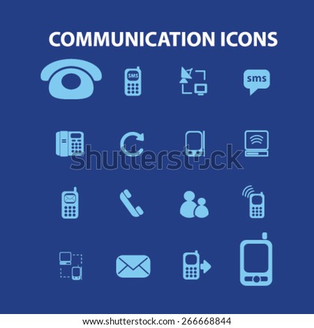 communication, technology isolated icons, signs, illustrations concept website internet design set, vector - stock vector