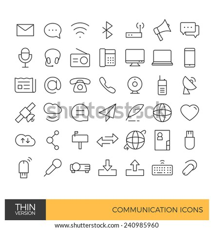Communication thin line icons - stock vector