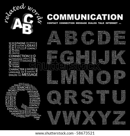 COMMUNICATION. Vector letter collection. Illustration with different association terms.