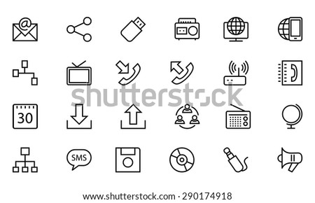 Communication Vector Line Icons 2 - stock vector