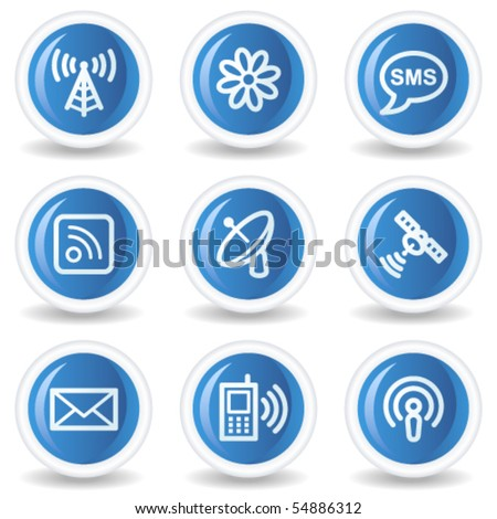 Communication web icons, blue glossy circle buttons - stock vector