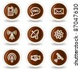 Communication  web icons, chocolate  buttons - stock vector